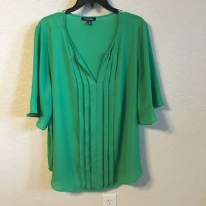 Ladies Pleated Front Green Tunic-2X